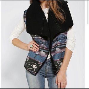 UO MINKPINK Troubadour Black Sherpa Lined Vest